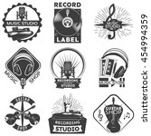 isolated black music shop label ... | Shutterstock .eps vector #454994359