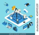 wireless technology isometric...   Shutterstock .eps vector #454995109