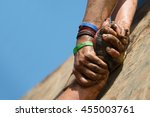 couple hold hands help when... | Shutterstock . vector #455003761