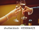 newlyweds clang glasses with... | Shutterstock . vector #455006425
