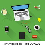 working place with notebook... | Shutterstock .eps vector #455009101