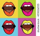 set of decorative woman open... | Shutterstock .eps vector #455026555