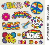 retro hippie patches vector... | Shutterstock .eps vector #455026861