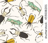 seamless bug pattern. funny... | Shutterstock .eps vector #455038201