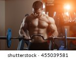 fitness man exercising with... | Shutterstock . vector #455039581
