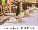flower composition and candles... | Shutterstock . vector #455041849