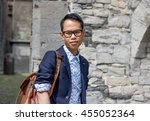 young asian student wearing... | Shutterstock . vector #455052364