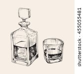 sketch whiskey bottle and glass.... | Shutterstock .eps vector #455055481