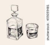 sketch whiskey bottle and glass.... | Shutterstock .eps vector #455055481
