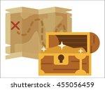 pirate treasure map vector flat ... | Shutterstock .eps vector #455056459