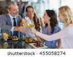 happy business colleagues... | Shutterstock . vector #455058274