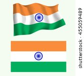 indian flag waving in the wind... | Shutterstock .eps vector #455059489