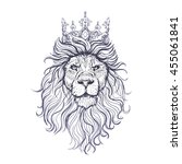 vector black and white lion... | Shutterstock .eps vector #455061841