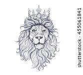 vector black and white lion... | Shutterstock .eps vector #455061841