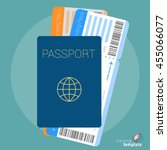 flat design travel passport and ...