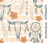 boho seamless pattern with... | Shutterstock .eps vector #455066491