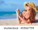 portrait of pretty long haired...   Shutterstock . vector #455067799