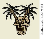 traditional tattoo flash skull... | Shutterstock .eps vector #455071141
