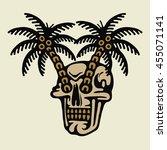 traditional tattoo flash skull... | Shutterstock .eps vector #455071141
