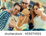 best friends taking selfie... | Shutterstock . vector #455074501