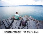 a tourist with a backpack... | Shutterstock . vector #455078161