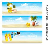 three summer vacation banners.... | Shutterstock .eps vector #455081449