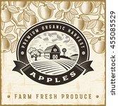 vintage apple harvest label | Shutterstock . vector #455085529