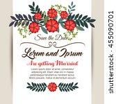 floral wedding invitation... | Shutterstock .eps vector #455090701