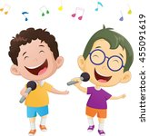 illustration of happy singing... | Shutterstock . vector #455091619