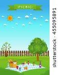 outdoor picnic in garden food... | Shutterstock .eps vector #455095891