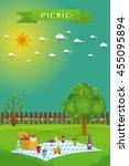 outdoor picnic in garden food... | Shutterstock .eps vector #455095894