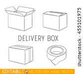 delivery box icon set. editable ... | Shutterstock .eps vector #455101975