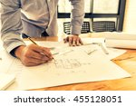 architect drawing architectural ... | Shutterstock . vector #455128051