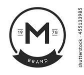 minimal letter m logo. vintage... | Shutterstock .eps vector #455133985