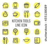 set of kitchen tools line icon...