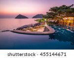 exotic romantic sunset pool... | Shutterstock . vector #455144671