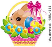 easter basket with pink bow and ... | Shutterstock . vector #45514558