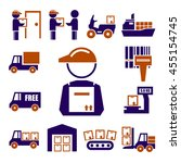 shipping  logistics icon set | Shutterstock .eps vector #455154745