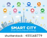 smart city on global ground... | Shutterstock .eps vector #455168779