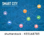 smart city line drawing... | Shutterstock .eps vector #455168785