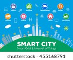 smart city on global ground... | Shutterstock .eps vector #455168791