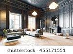 modern style black living room... | Shutterstock . vector #455171551