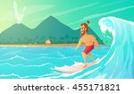 surfer ride on surfboard....   Shutterstock .eps vector #455171821