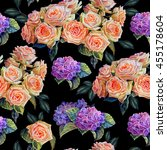 floral seamless pattern.roses... | Shutterstock . vector #455178604