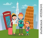 happy family travelling to... | Shutterstock .eps vector #455206141