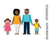 multicultural family on white... | Shutterstock . vector #455209411