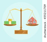 scale with house and money.... | Shutterstock .eps vector #455211709