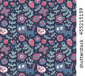 seamless cute animal pattern...   Shutterstock .eps vector #455215159