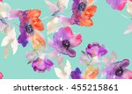 purple watercolor flowers.... | Shutterstock . vector #455215861