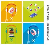 concept of audio english book... | Shutterstock .eps vector #455217535